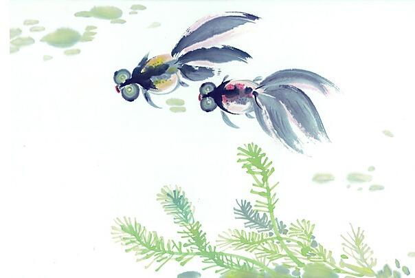 幼儿水墨画金鱼