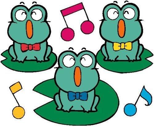 乐意模仿池塘里的小动物,能围绕小青蛙的叫声想象小青蛙的开心事. 2.