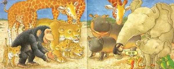 啵啵终于找到了妈妈,和妈妈抱在一起.你看后面那些小动物怎么样了?