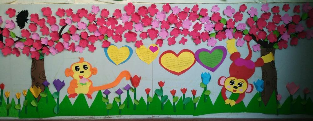 美丽的春天(主题墙面_幼儿园季节主题墙环境创设_幼儿