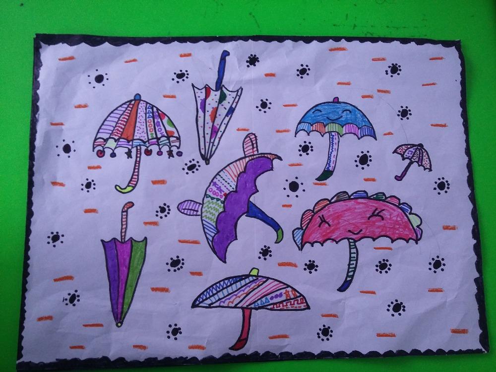 雨伞_幼儿园线描画绘画_幼儿园绘画_师乐汇